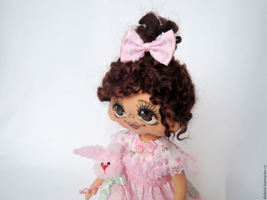 Куклы тыквоголовки ручной работы. Ярмарка Мастеров - ручная работа. Купить Кукла текстильная, интерьерная . Каринка. Handmade. Розовый