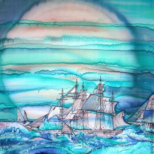 """Шали, палантины ручной работы. Ярмарка Мастеров - ручная работа. Купить Платок  шелковый батик """"Отражения. Лунная флотилия"""". Handmade."""