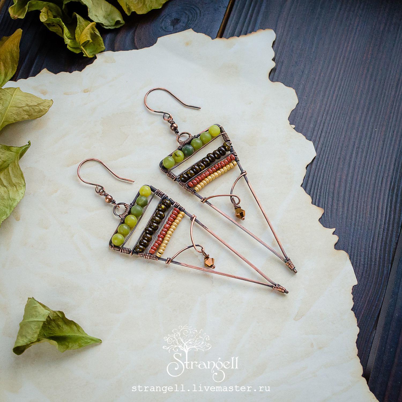 Triangular earrings with jade Copper long earrings with beads Green, Earrings, Ulan-Ude,  Фото №1