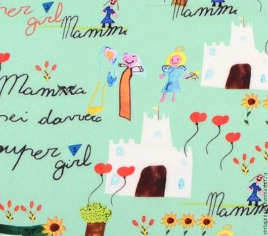Шитье ручной работы. Ярмарка Мастеров - ручная работа. Купить Детские рисунки - принцессы, замки, цветы - креп мятного цвета. Handmade.