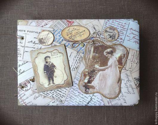 """Фотоальбомы ручной работы. Ярмарка Мастеров - ручная работа. Купить Фотоальбом """"Семейная хронология"""". Handmade. Бежевый, бумага для скрапбукинга"""