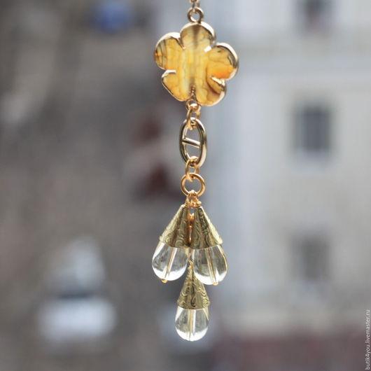"""Кулоны, подвески ручной работы. Ярмарка Мастеров - ручная работа. Купить Комплект Кулон +серьги, """"Цветочный мед"""" с лимонным топазом.Желтый. Handmade."""