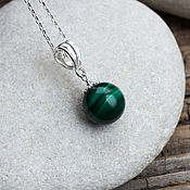 Украшения handmade. Livemaster - original item Silver pendant with malachite