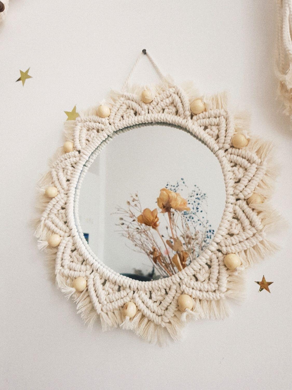 Круглое настенное зеркало макраме с бусинами, Зеркала, Санкт-Петербург,  Фото №1