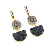 Украшения handmade. Livemaster - original item Quartz and Black agate Earrings, Black earrings, brown earrings. Handmade.