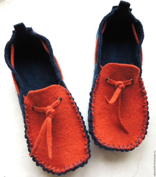 """Обувь ручной работы. Ярмарка Мастеров - ручная работа. Купить Валяные женские тапочки """"Макасины"""". Handmade. Рыжий"""