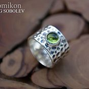 Украшения handmade. Livemaster - original item Forged silver ring with chrysolite.. Handmade.