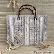 Летняя сумка Льняная корзинка Эко Вышивка на пластканве