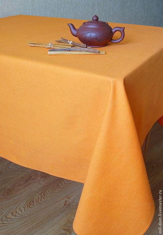 """Текстиль, ковры ручной работы. Ярмарка Мастеров - ручная работа. Купить Скатерть льняная """"Апельсин"""". Handmade. Оранжевый, скатерть льняная"""