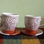 Посуда ручной работы. Ярмарка Мастеров - ручная работа Две чайные пары. Handmade.