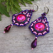 Украшения ручной работы. Ярмарка Мастеров - ручная работа Серьги из бисера со стразами длинные, розовый, фиолетовый. Handmade.