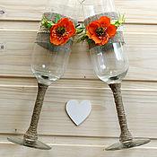 Свадебный салон ручной работы. Ярмарка Мастеров - ручная работа Свадебные бокалы (В наличии). Handmade.