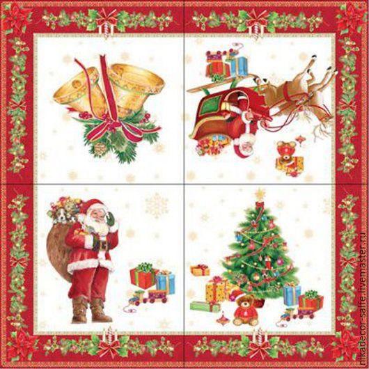 Декупаж и роспись ручной работы. Ярмарка Мастеров - ручная работа. Купить Рождество красное (XRED) 33х33 салфетка для декупажа. Handmade.