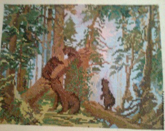 Репродукции ручной работы. Ярмарка Мастеров - ручная работа. Купить Утро в сосновом лесу. Handmade. Комбинированный, мишки сосновый лес