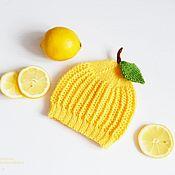 """Работы для детей, handmade. Livemaster - original item """" Лимон """" вязаная шапочка для фотосессии. Handmade."""
