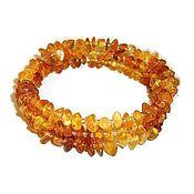 Украшения handmade. Livemaster - original item Amber bracelet natural stone on the string 3 turns orange yellow. Handmade.