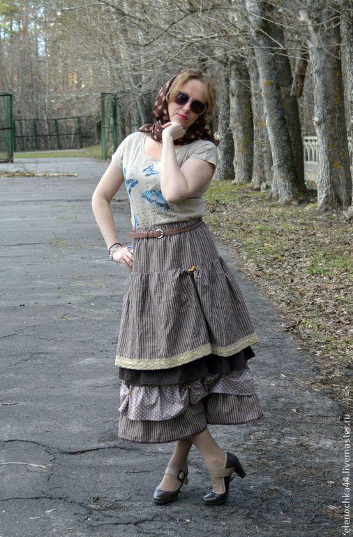 """Юбки ручной работы. Ярмарка Мастеров - ручная работа. Купить Длинная юбка бохо """"Ореховая 2"""". Handmade. Бежевый"""