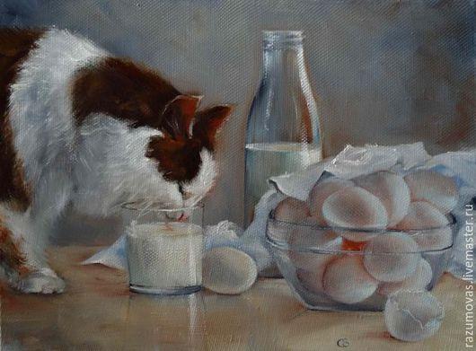 Животные ручной работы. Ярмарка Мастеров - ручная работа. Купить Кот завтракает. Handmade. Комбинированный, холст на подрамнике