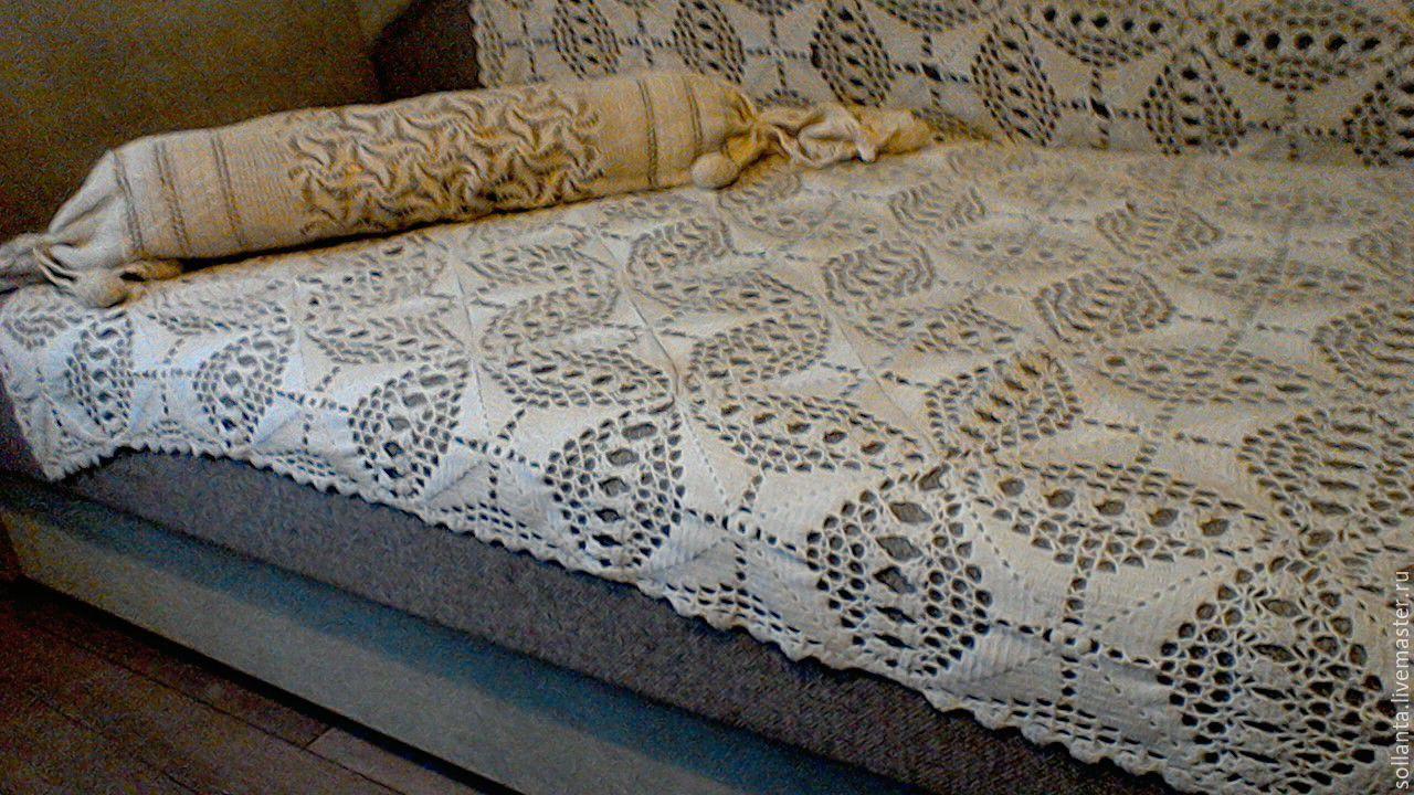 Вязание крючком накидки на диваны 914