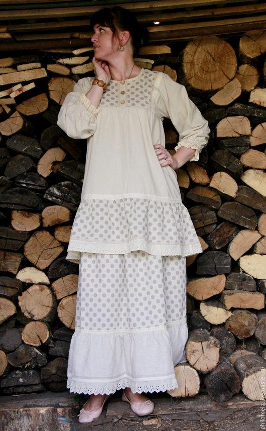 """Костюмы ручной работы. Ярмарка Мастеров - ручная работа. Купить СКИДКА! Комплект юбка и блуза из хлопка и льна """"Ванильное монпансье"""". Handmade."""