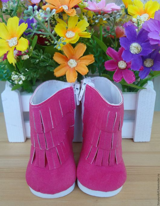 Куклы и игрушки ручной работы. Ярмарка Мастеров - ручная работа. Купить Замшевые ботинки для кукол. Handmade. Розовый, обувь для мишек
