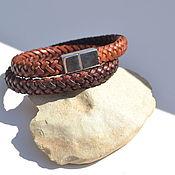 handmade. Livemaster - original item Woven leather bracelet. Handmade.