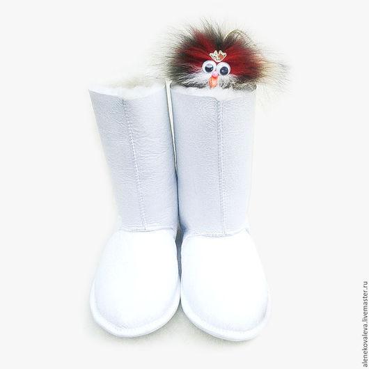 Обувь ручной работы. Ярмарка Мастеров - ручная работа. Купить Сапожки из овчины. Handmade. Белый, сапожки из овчины, Меховые сапожки