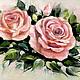 """Картины цветов ручной работы. Ярмарка Мастеров - ручная работа. Купить Картина маслом """"Розы."""". Handmade. Кремовый"""