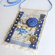 """Украшения ручной работы. Ярмарка Мастеров - ручная работа """"Синяя роза"""" бохо кулон из ткани  подвеска текстильная цветы. Handmade."""
