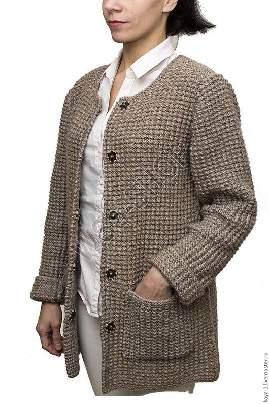 Кофты и свитера ручной работы. Ярмарка Мастеров - ручная работа. Купить Вязаное пальто крупной вязки. Handmade. Бежевый