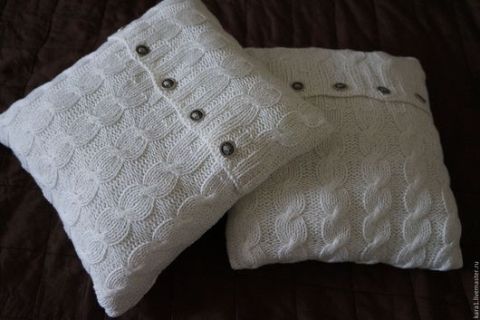 Текстиль, ковры ручной работы. Ярмарка Мастеров - ручная работа. Купить Подушки вязаные 2 шт белые. Handmade. Белый