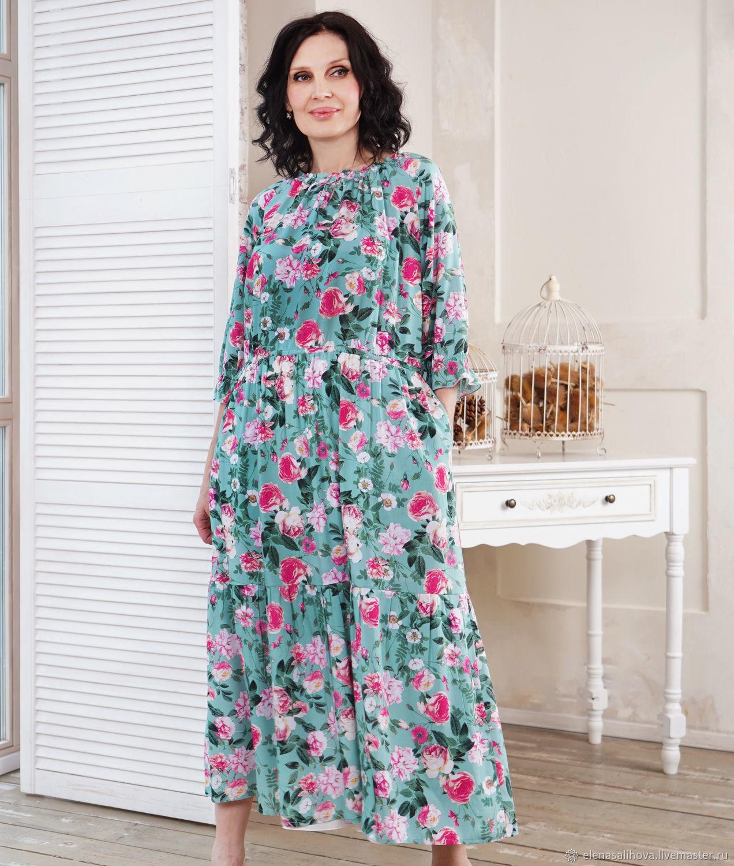 Платья ручной работы. Ярмарка Мастеров - ручная работа. Купить Платье Розы и Мята 2 миди. Handmade. Мятный