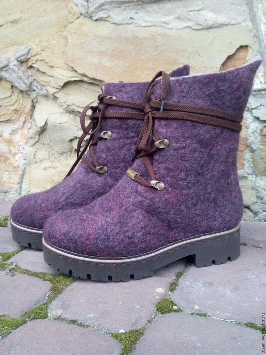 """Обувь ручной работы. Ярмарка Мастеров - ручная работа. Купить сапожки-валенки """"Баклажанчики"""". Handmade. Брусничный, фиолетовый"""