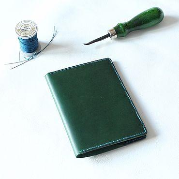 Stationery handmade. Livemaster - original item Passport cover in green leather. Handmade.