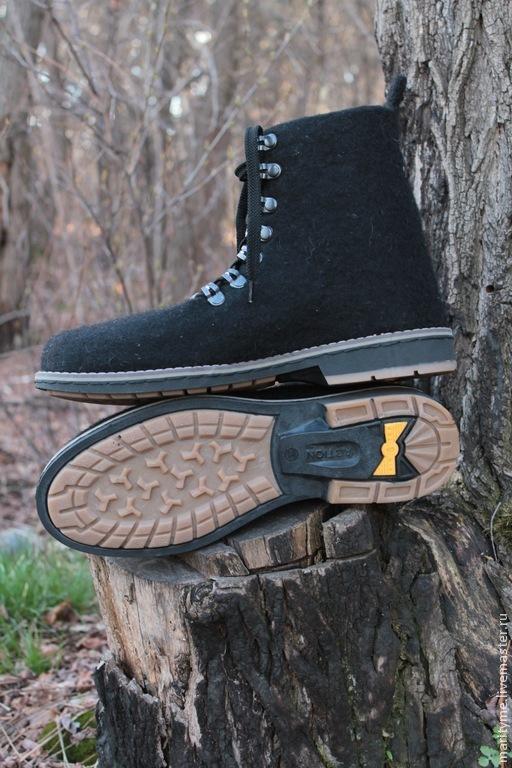 """Обувь ручной работы. Ярмарка Мастеров - ручная работа. Купить Валяные ботинки """"Freedom"""". Handmade. Черный, подарки для мужчин"""