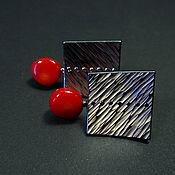 Украшения handmade. Livemaster - original item Titanium earrings with coral. Handmade.