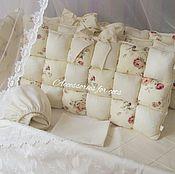 Работы для детей, handmade. Livemaster - original item Bumpers in the crib: Bumpers-bombon in the baby`s cot. Handmade.