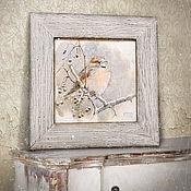 Картины и панно ручной работы. Ярмарка Мастеров - ручная работа картина акварелью Воробушек (в раме состаренной вручную, пепельный). Handmade.
