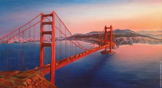 Город ручной работы. Ярмарка Мастеров - ручная работа. Купить Золотые ворота. Handmade. Рыжий, мост, закат солнца, машины
