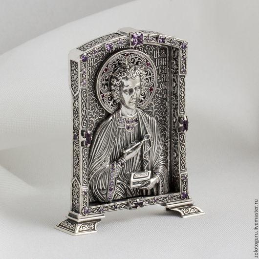Иконы ручной работы. Ярмарка Мастеров - ручная работа. Купить Икона Пантелеймон (средняя) из серебра. Handmade. Икона
