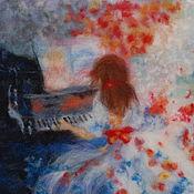 "Картины и панно handmade. Livemaster - original item Шерстяная акварель ""Пианистка"". Handmade."
