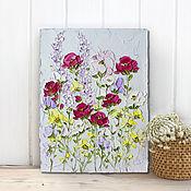 Картины и панно handmade. Livemaster - original item Spring wildflowers roses buy oil painting blue purple. Handmade.
