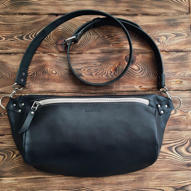 0ae1e4ad12d9 Купить Сумка нагрудная Черный CRAZY Поясные сумки ручной работы. Сумка  нагрудная Черный CRAZY Итальянская кожа. Анатолий Skin Type.