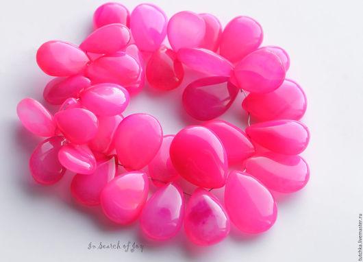 Для украшений ручной работы. Ярмарка Мастеров - ручная работа. Купить Ярко-розовый халцедон гладкая груша бриолет 17-22мм. Handmade.