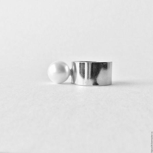 Кольца ручной работы. Ярмарка Мастеров - ручная работа. Купить Кольцо с белым жемчугом, серебряный цвет, родий. Handmade.