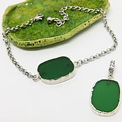 Украшения handmade. Livemaster - original item Pendant and Bracelet a Green leaf in silver. Handmade.