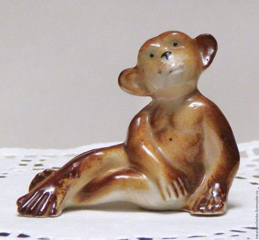 """Винтажные предметы интерьера. Ярмарка Мастеров - ручная работа. Купить Винтажная фарфоровая статуэтка """"Шимпанзе"""", начало 60-х, ГДР. Handmade."""