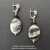 Украшения handmade. Livemaster - original item Black and white earrings quartz-hair stone. Handmade.