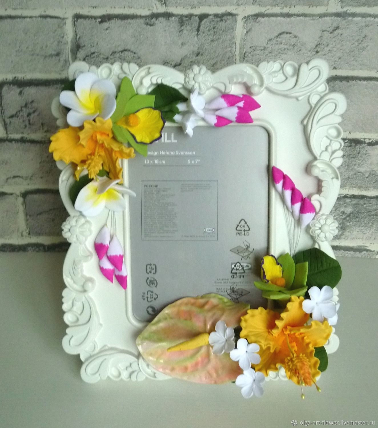 Photo frame with exotic flowers made of polymer clay, Photo frames, Moscow,  Фото №1
