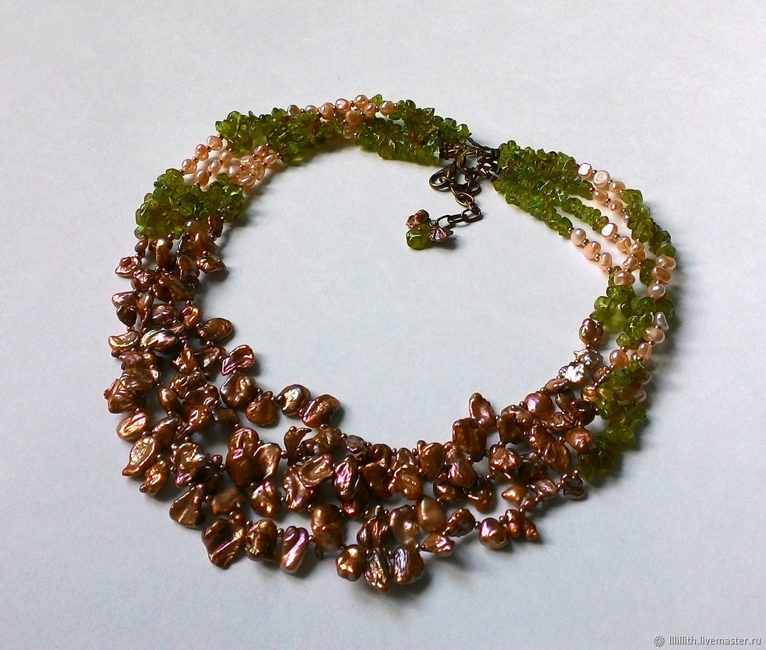 A necklace of pearls and peridot, Necklace, Moscow,  Фото №1